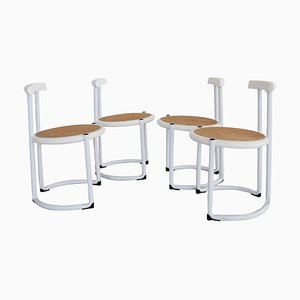 Italian Dining Chairs in White Tubular Metal, Wood and Cane, 1980s, Set of 4