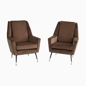 Italian Armchairs in Chocolate Brown Velvet with Brass Feet, 1950s, Set of 2
