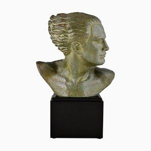 Alfred Gilbert, Art Deco Bronze Sculpture, Male Bust, Aviator Jean Mermoz, 1925