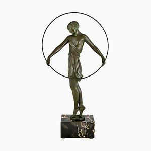 Pierre Le Faguays & Max Le Verrier, escultura Art Déco, bailarina con aro, Harmony, años 30
