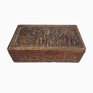 Antique Wooden Bowl with Carved Scenery