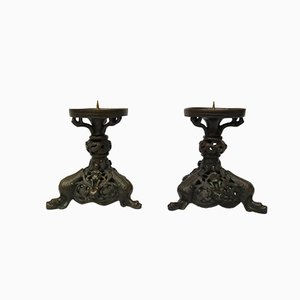 Antique Bronze Candlesticks, Set of 2