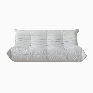 White Leather Togo 3-Seater by Michel Ducaroy for Ligne Roset
