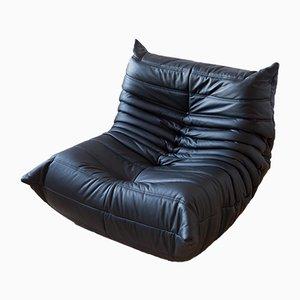 Vintage Black Leather Togo Lounge Chair by Michel Ducaroy for Ligne Roset