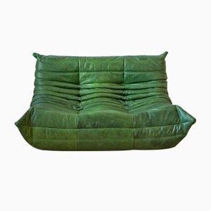 Vintage Green Leather 2-Seater Togo Sofa by Michel Ducaroy for Ligne Roset