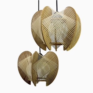 Optical Lamps in Wood and Raffia Thread, Set of 2