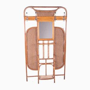 Französischer Bambus Wandschrank mit Garderobe und Spiegel, 1960er