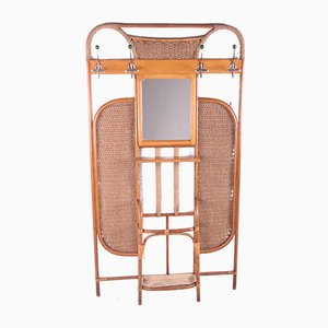 French Bamboo Wall Wardrobe With Coat Rack and Mirror, 1960s
