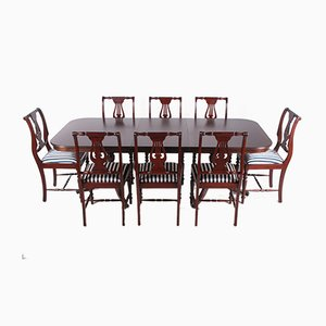 English Queen Anne Style Mahogany Dining Set, 1980s, Set of 9