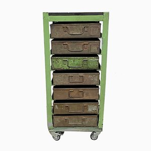 Vintage Industrial Green Iron Chest of Drawers on Wheels, 1950s