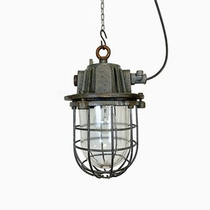Gray Industrial Cast Iron Cage Pendant Light, 1960s