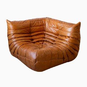 Vintage Pine Leather Togo Corner Sofa by Michel Ducaroy for Ligne Roset