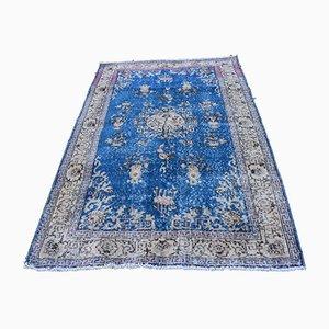 Blauer türkischer Vintage Teppich, 1970er