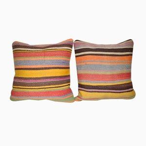 Vintage Turkish Kilim Pillow Covers, Set of 2