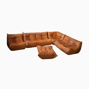 Pine Leather Togo Living Room Set by Michel Ducaroy for Ligne Roset, 1979, Set of 5