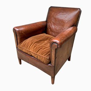 French Leather Normandy Model Club Chair, 1910