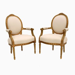 Antique French Giltwood Salon Chairs