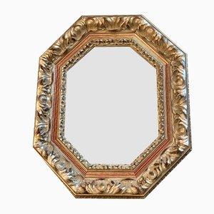 Silberner Vintage Spiegel mit Holzrahmen