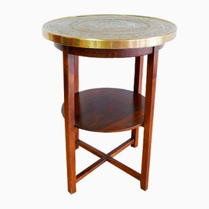 Round German Smoking Bar Table with Brass Top, 1930s