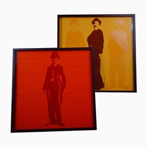 Pop Art, Charlie Chaplin Graphics, Ture Sjölander, Sweden, 1973, Set of 2