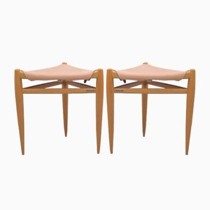 Dreibeiniger Hocker aus Eiche von Luxus, Sweden, 2er Set