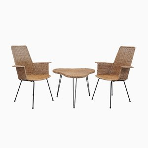 Rattan Armchairs with Table, Set of 3