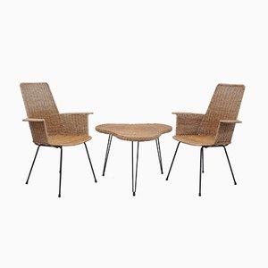 Rattan Armlehnstühle mit Tisch, 3er Set