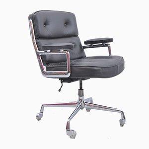 ES 108 Lobby Chair aus schwarzem Leder von Charles Eames
