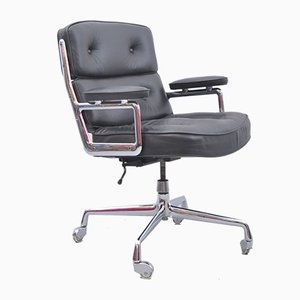 Sedia da ingresso ES 108 in pelle nera di Charles Eames