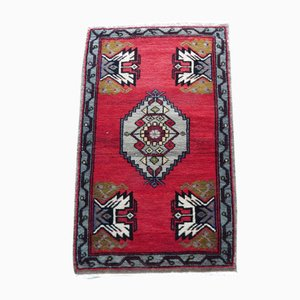 Small Turkish Faded & Distressed Hand-Knotted Low Pile Area Rug