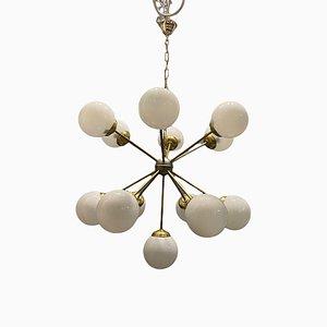 Opalglas & Messing Starburst Sputnik Kronleuchter mit 13 Leuchten