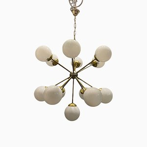 Opaline Glass & Brass Starburst Sputnik Chandelier with 13 Lights