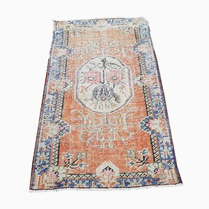 Small Turkish Distressed Oushak Rug in Pastel Color