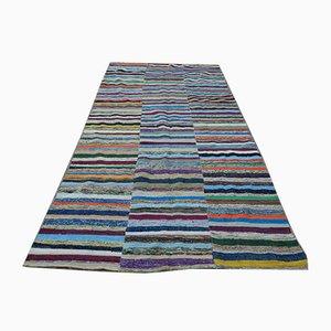 Vintage Turkish Striped Rag Rug