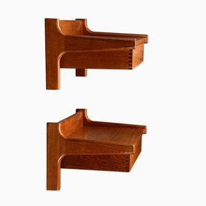 Wall Mounted Bedside Tables in Teak by Borge Mogensen for Soborg, 1960s, Set of 2