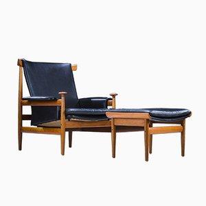 Model Bwana Armchair and Footstool by Finn Juhl for France & Son / France & Daverkosen, 1960s, Set of 2