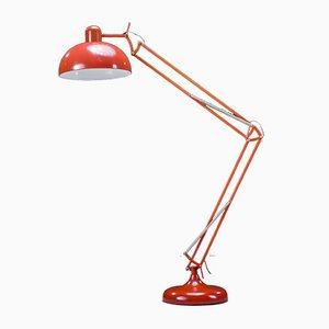 Industrial Red Metal Floor Lamp, 1980s