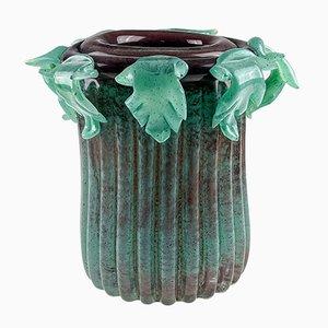 Freeblown Column Vase mit Akanthus Blättern von Bernhard Heesen für De Oude Horn, 2003