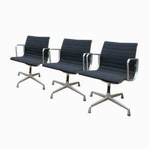 Aluminum and Fabric EA 108 Swivel Chairs by Charles Eames for Vitra, 2000s, Set of 3
