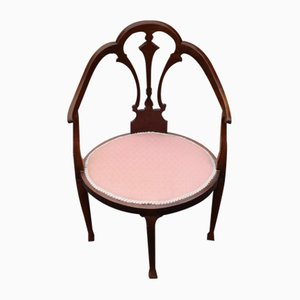 Mahogany Corner Armchair in Pink, 1920s