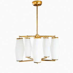 Italian Gold-Plated and Opaline Glass Suspension Lamp from Stilnovo, 1950s