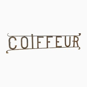Vintage Wrought Iron Coiffeur or Barber Shop Sign