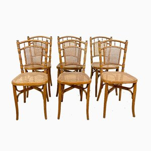 Faux Bamboo Chairs in Wood with Cane Seats, Set of 6
