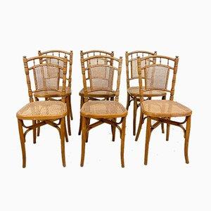 Faux Bamboo Stühle aus Holz mit Sitzen aus Schilfrohr, 6er Set