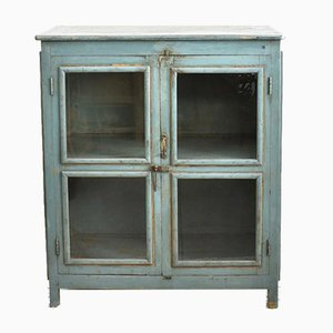 Vintage Blue Glass Fronted Cupboard
