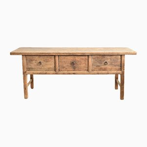 Antique Rustic Elm Console Table with Drawers