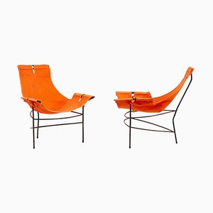 Lounge Chairs in Orange Canvas by Jerry Johnson, USA, 1950s, Set of 2