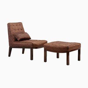 Sessel mit Fußhocker von Edward Wormley für Dunbar, USA, 1960er, 2er Set