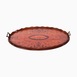 Antique Oval Satinwood Inlaid Serving Tray