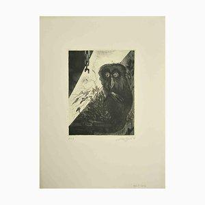 Leo Guida, Eule, Original Radierung, 1972